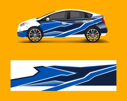 Racing car wrap. abstract strip shapes for Company car wrap, sticker, and decal template design vector