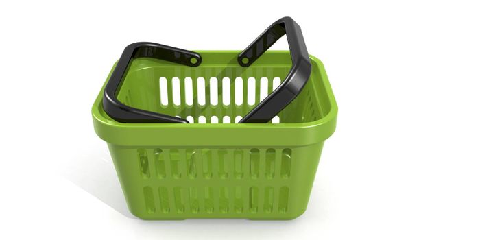 Green shopping basket isolated on white background, 3D rendering