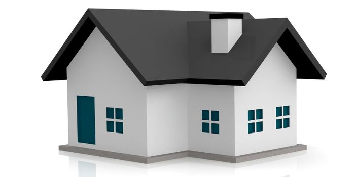 Computer generated housing isolated on white background, 3D rendering