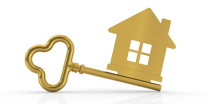 Housing sign with golden key, 3d rendering