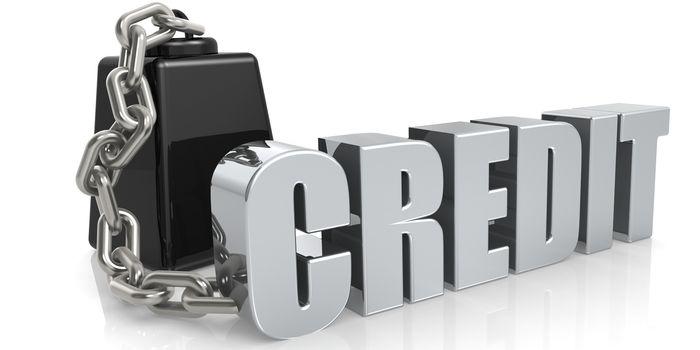 Metallic credit word chain to weight, 3D rendering