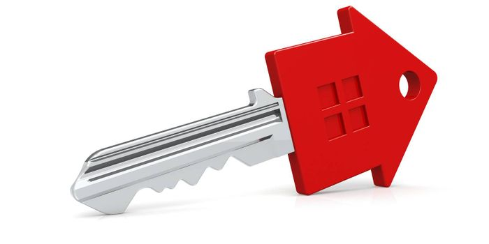 Red house key isolated with white background, 3D rendering