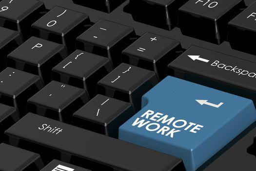 Remote work word on computer keyboard, 3D rendering