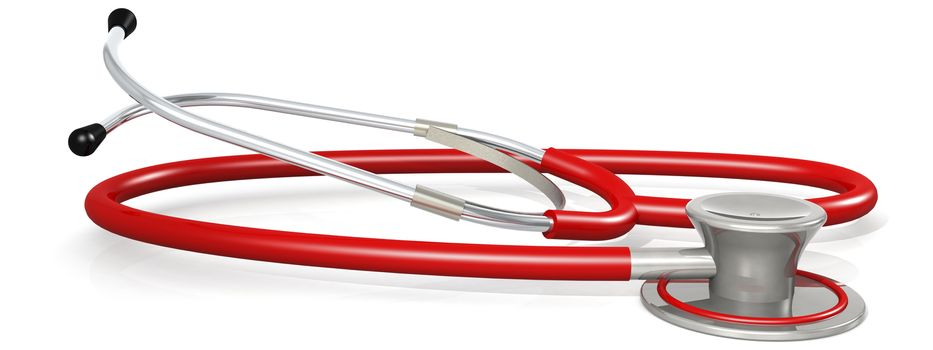 Red stethoscope isolated on white background, 3D rendering