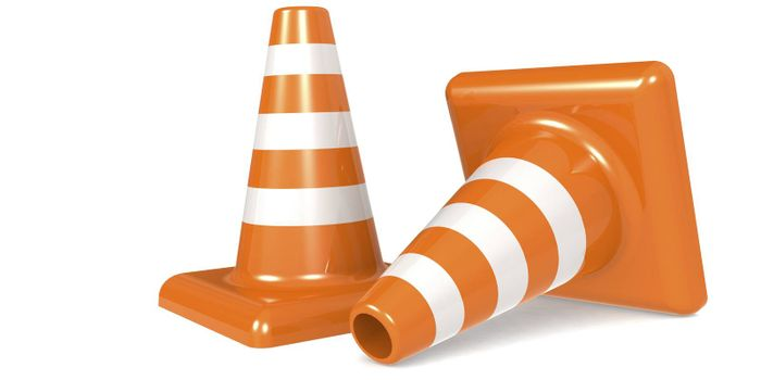 Traffic cone isolated on white background, 3D rendering
