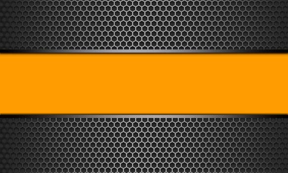 Yellow banner silver line on black metal hexagon mesh pattern design, 3d rendering