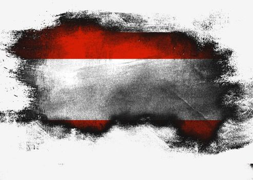Austria flag painted with brush on white background, 3D rendering