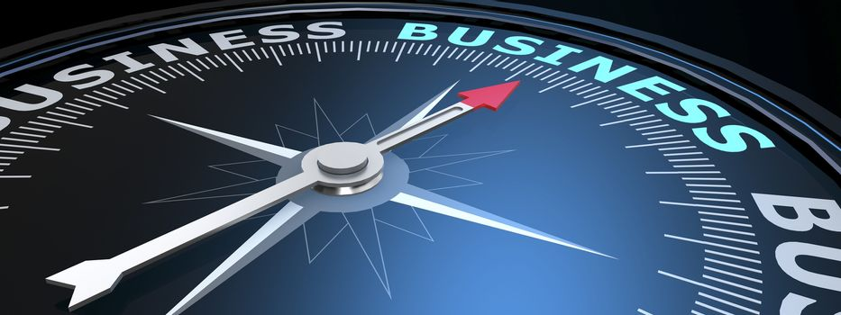 Abstract compass points to the business word, 3D rendering