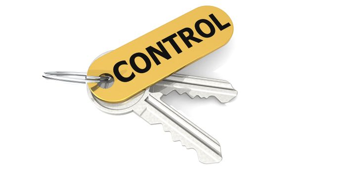 Control label attached to the keys, 3D rendering