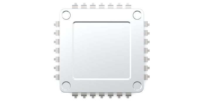 Computer chip isolated on white background, 3D rendering