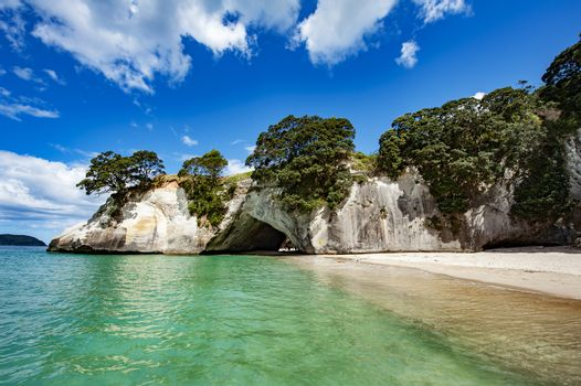 Famous cave at Cathedral Cove Marine Reserve, Coromandel Peninsula, New Zealand.
