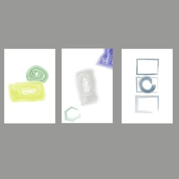 Set of creative minimalist hand painted illustrations for wall decoration, postcard or brochure cover design. Vector EPS10