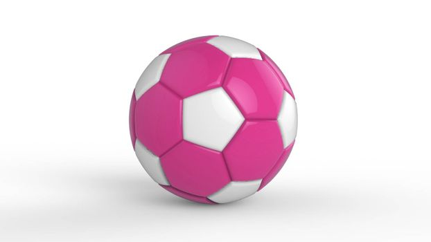 pink soccer plastic leather metal fabric ball isolated on black background. Football 3d render illustration.
