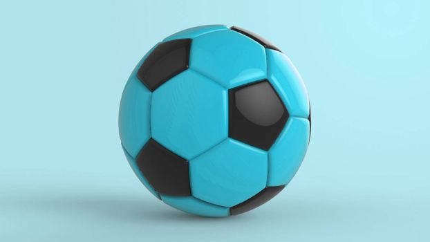 azure soccer plastic leather metal fabric ball isolated on black background. Football 3d render illustration.