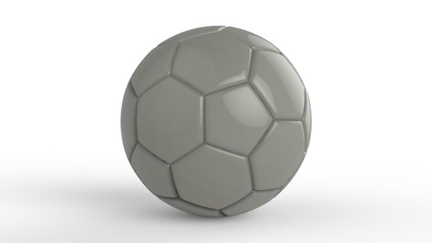 gray soccer plastic leather metal fabric ball isolated on black background. Football 3d render illustration.