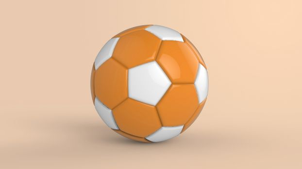 orange soccer plastic leather metal fabric ball isolated on black background. Football 3d render illustration.