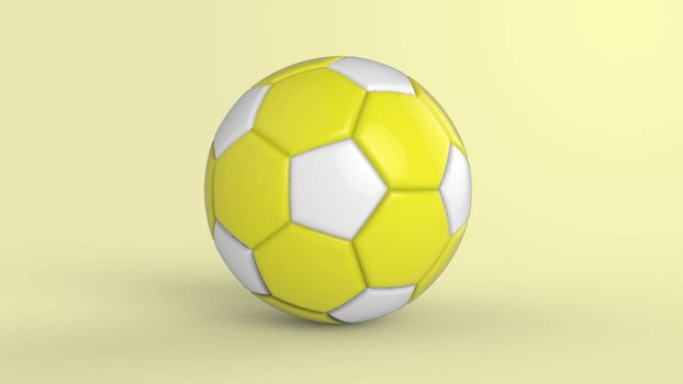 yellow soccer plastic leather metal fabric ball isolated on black background. Football 3d render illustration.