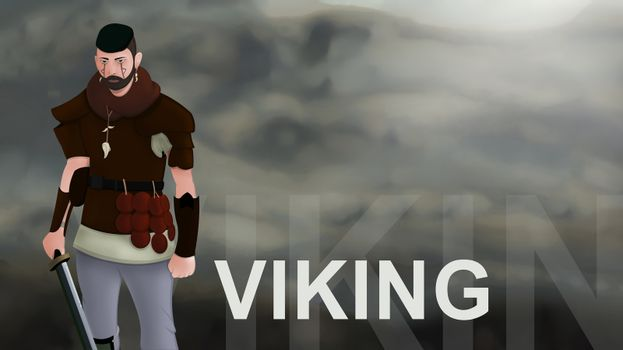 Viking word text with Warrior armed with sword viking and leather armor on a gradient background. With copyspace for your text. Larp role play. Battle and medieval war. battlefield. Illustration 2d