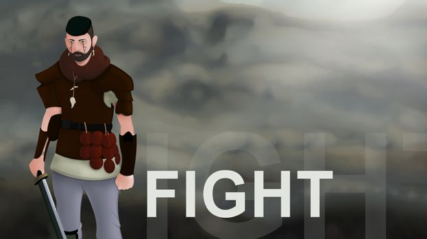 Fight word text with Warrior armed with sword viking and leather armor on a gradient background. With copyspace for your text. Larp role play. Battle and medieval war. battlefield. Illustration 2d
