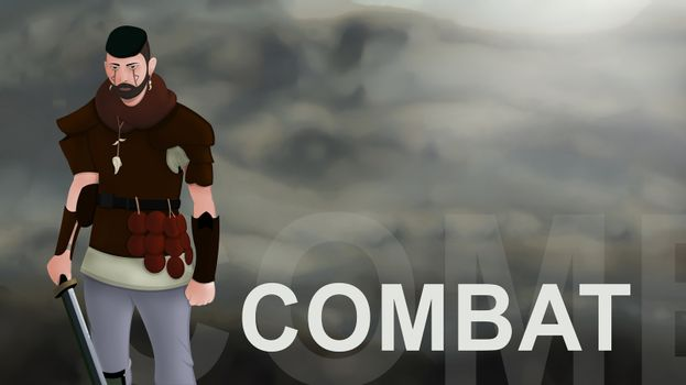 Combat word text with Warrior armed with sword viking and leather armor on a gradient background. With copyspace for your text. Larp role play. Battle and medieval war. battlefield. Illustration 2d