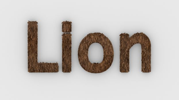 Lion - 3d word brown on white background. render furry letters. design template. African lion and night in Africa. African savannah landscape, king of animals.
