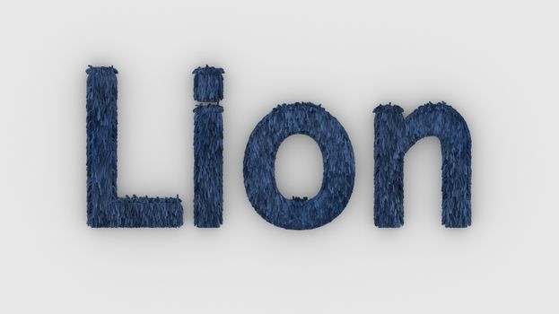 Lion - 3d word blue on white background. render furry letters. design template. African lion and night in Africa. African savannah landscape, king of animals.