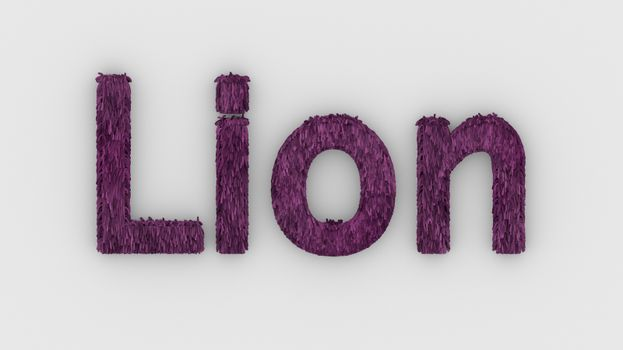 Lion - 3d word pink on white background. render furry letters. design template. African lion and night in Africa. African savannah landscape, king of animals.