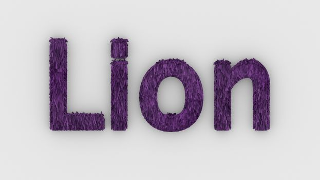 Lion - 3d word purple on white background. render furry letters. design template. African lion and night in Africa. African savannah landscape, king of animals.