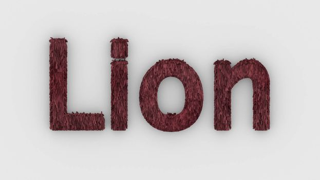 Lion - 3d word red on white background. render furry letters. design template. African lion and night in Africa. African savannah landscape, king of animals.
