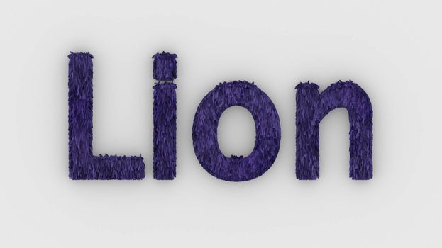 Lion - 3d word violet on white background. render furry letters. design template. African lion and night in Africa. African savannah landscape, king of animals.