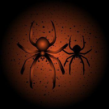 Halloween illustration of hanging spider on black and orange background