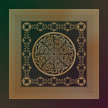 abstract golden oriental tracery in square frame on green and purple background