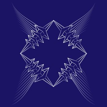 abstract icon with white wings and thorned frame on blue background
