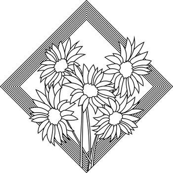 flat simple line art of sunflowers bouquet in geometric frame
