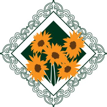 colorful illustration of sunflowers bouquet in green rhombus ornamented frame