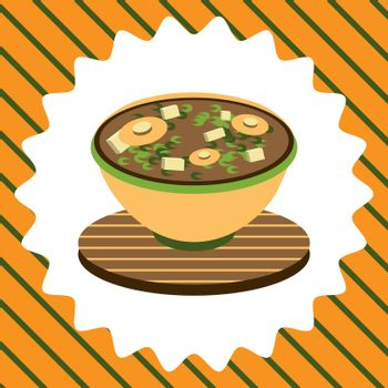 cute colorful illustration of bowl of miso soup, japanese food