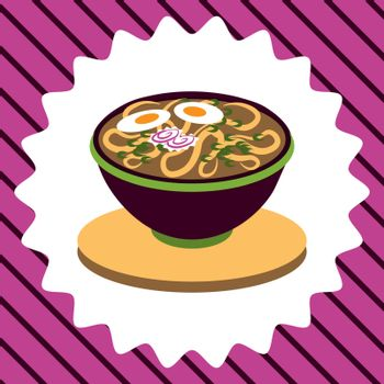 cute colorful illustration of bowl of ramen, japanese fast food