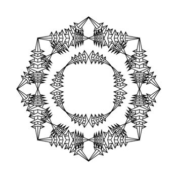 isolated tattoo or print design abstract gothic mandala in fantasy style