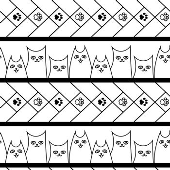 cute simple doodle seamless pattern with cats, dogs and paws