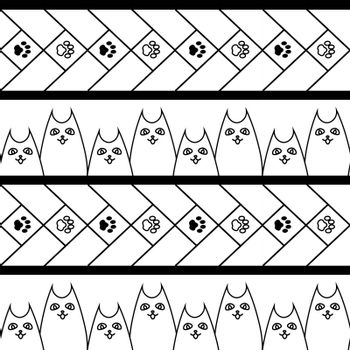 cute simple monochrome doodle seamless pattern with dogs and paws