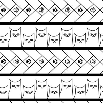 cute simple monochrome doodle seamless pattern with cats and paws