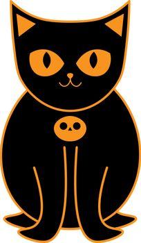 isolated cute cartoon black cat with orange halloween pumpkin collar