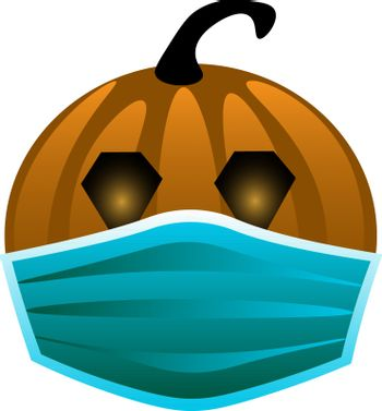 isolated cute vector illustration of halloween pumpkin in medical mask