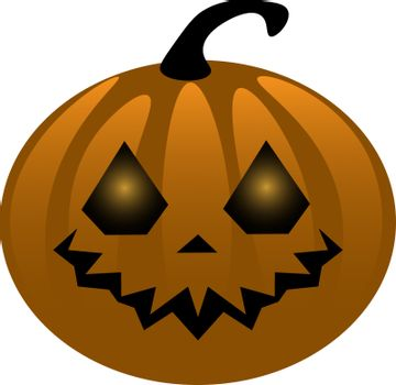 isolated spooky and funny halloween vector illustration of smiling pumpkin