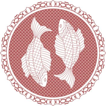 illustration of two red and white fishes in asian style