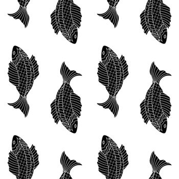 black and white seamless pattern with fishes, drawn in asian style