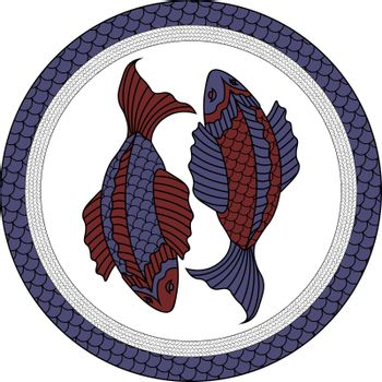 illustration of two red and blue fishes in asian style