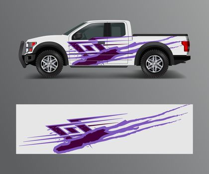 Graphic abstract grunge stripe designs for Truck decal, cargo van and car wrap vector