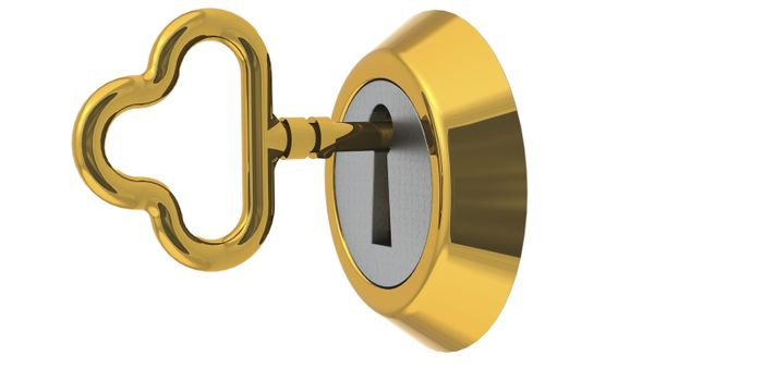 Golden key to unlock isolated, 3d rendering