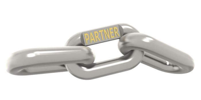 Metal chain with partner word, 3D rendering
